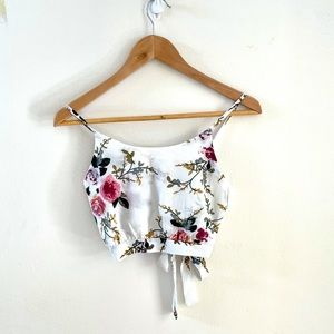 Women's White Floral Crop Top Size S